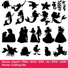 29-JDI/ Disney Ariel Silhouettes / the little Mermaid Silhouettes , svg, dxf, Mermaid cutting file by JulyDigitalImages