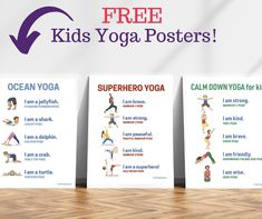 A hub for kids yoga resources and ideas. Get free printable kid yoga pose posters and yoga resources. Shop for kids yoga books and digital yoga cards! Kids Yoga Poses, Easy Yoga Poses, Yoga For Kids, Kid Yoga, Kids Yoga Printables, Free Printables, Printable Worksheets, Preschool Yoga, Free Preschool