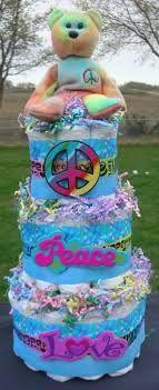 Diaper cake for my hippie friend Baby Shower Diapers, Baby Shower Cakes, Baby Shower Themes, Shower Ideas, Baby Shower Gifts, Peace Beanie Baby, Hippie Baby, Retro Baby, Boho Baby Shower