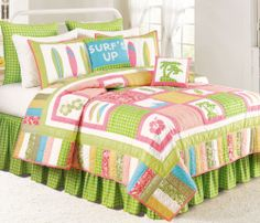 Best Surf Decor and Surfboard Decor for your home! We love tropical decorations and if you love surfboarding, you will find the surf decor you are looking for. Tropical Bedding, Coastal Bedding, Luxury Bedding, Tropical Decor, Tropical Quilts, Green Bedding, Surf Room, Beach Room, Bedroom Beach
