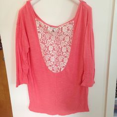 Lace Open Back Top - American Eagle Outfitters EUC Lace Open Back Top - American Eagle Outfitters. Gorgeous coral color. Size medium. Pair it with your favorite bandeau or bra and bottoms for a cute summer look! American Eagle Outfitters Tops