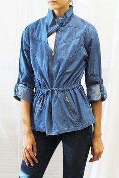 Denim Zip Front Roll-Tab Sleeve Lightweight Jacket