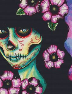 Day of the Dead Cross Stitch PDF Pattern By Carissa Rose 'Absolution' - Modern Cross Stitch Chart. $25.00, via Etsy.