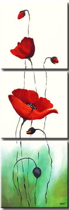 Cuadro con flores Amapolas rojas