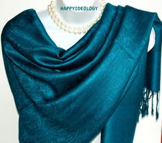 Blue Pashmina Scarf.Blue/Green Shawl.Winter by HappyIdeology