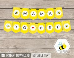 INSTANT DOWNLOAD - PRINTABLE PDF BEE BABY SHOWER - PRINTABLE BANNER   -------------------------------- THIS LISTING INCLUDES