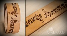 Laser engraved and cut giraffe cuff. www.brickbubble.ca