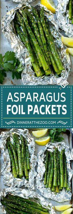 Grilled Asparagus in Foil Recipe   Foil Packet Recipe   Asparagus Foil Pack   Asparagus Recipe #grilling #asparagus #dinneratthezoo Grill Asparagus In Foil, Grilled Asparagus Recipes, How To Cook Asparagus, Grilled Vegetables, Asparagus Dishes, Fresh Asparagus, Asparagus On The Bbq, Asparagus Ideas, Grilled Vegetable Recipes