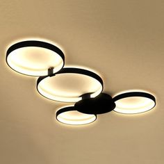 Vonn Lighting Capella 43-inches LED Ceiling Light Modern Multi-Ring Ceiling Fixture in Black - Free Shipping Today - Overstock.com - 18571441 - Mobile
