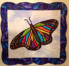 Stained Glass Butterfly Wall Hanging. Trapunto Appliqué