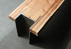 Quartertwenty modern live edge bench steel