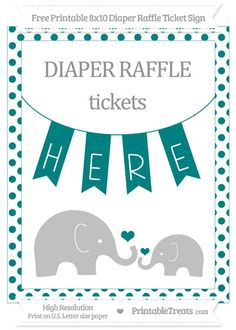 Free Teal Dotted  Elephant 8x10 Diaper Raffle Ticket Sign
