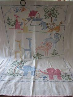 Vintage Nursery Baby Cross Stitch Blanket Quilt Wall by PickerRick, $45.00