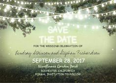 Lovely string lights save-the-date #wedding_invitations.