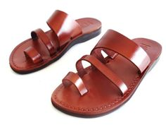 Brown Leather Sandal TRIPLE Style for Women and by Sandalimshop, $49.99