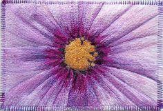 Dahlia  ThreadPainted Fabric Postcard  6 x 4 di AngiesTextileArt, £14,00