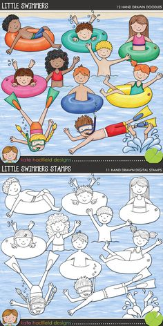 Swimming kids digital scrapbooking elements | Cute summer swim clip art | Hand-drawn illustrations for digital scrapbooking, crafting and teaching resources from Kate Hadfield Designs! Click to see projects created using these illustrations!