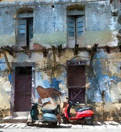 Scooters, Panjim, Goa, watercolour #watercolor jd