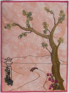 I ❤ embroidery . . . tree 4- I love Oriental trees and embroidered on a hand dyed calico (muslin) I added tatted picot flowers. DMC threads were used. ~By crazyQstitcher