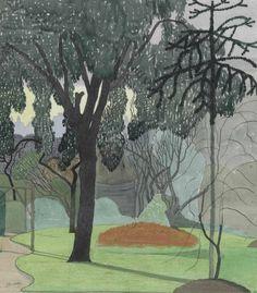 thunderstruck9:  John Nash (British, 1893-1977), Garden Scene.Pencil, ink, pastel and watercolour, 32.1 x 27.9 cm.