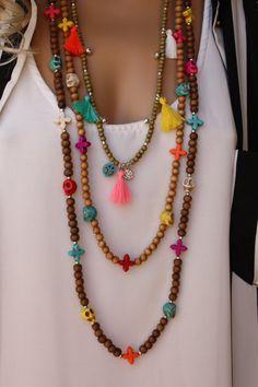 3 PCS Wooden Tassel Long Boho Necklace Set por monroejewelry