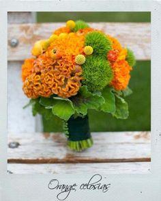Celosia, dianthus, and craspedia bouquet