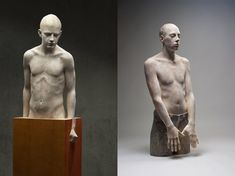 Bruno Walpoth uses simple carving tools to turn pieces of wood (lime and walnut) into human sculptures with detailed features that seen from afar look incredibly life-like. Only on closer inspection does one notice the carving marks on their skin, left intentionally as quiet reminders that these mind-blowing figures are not human