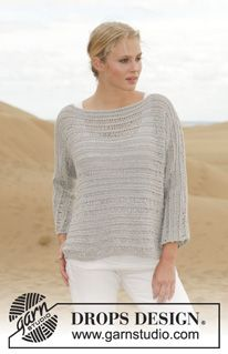 """Knitted DROPS jumper in garter st with dropped sts in """"Cotton Light"""". Size: S - XXXL. ~ DROPS Design"""