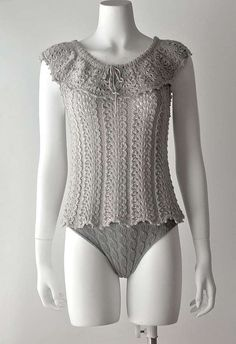 Lacy hand knitted top/camisole with pelerine in by fuzzybazooke