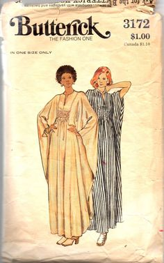 Butterick 3172 1970s Misses Shirred Cocoon Caftan pattern womens vintage sewing pattern by mbchills