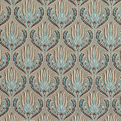 he K4594 upholstery fabric by KOVI Fabrics features Foliage, Heirloom or Vintage, Small Scale pattern and Aqua or Teal, Beige or Tan or Taupe, Brown, Gray or Silver as its colors. It is a Brocade or Matelasse type of upholstery fabric and it is made of 100% woven polyester material. It is rated Exceeds 35,000 Double Rubs (Heavy Duty) which makes this upholstery fabric ideal for residential, commercial and hospitality upholstery projects. This upholstery fabric is 54 inches wide.800-8603105
