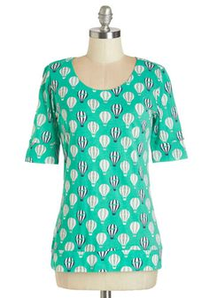 Up In the Flair Top in Jade - Green, Short Sleeve, Knit, Green, Novelty Print, Quirky, Short Sleeves, Exposed zipper, Casual, Scoop