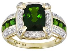 2.73ctw Cushion & Square Russian Chrome Diopside With Diamond Accent 10k Yellow Gold Ring