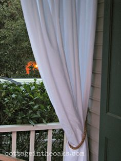 Rope Curtain Tie Backs. If I go with drop cloth curtains on back patio, the rope tie backs would go well with them. Or use them on the sunroom sheers. kh