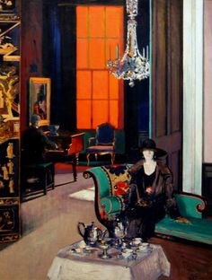 The Orange Blind, 1929 ~ Francis Campbell Cadell (Scottish, Colourist painter, 1883-1937)