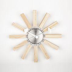 Midcentury Modern Wood Spokes Clock - Wood Clock - Ideas of Wood Clock - Midcentury Modern Wood Spokes Clock Price : Wall Clock Price, Led Wall Clock, Tabletop Clocks, Wood Clocks, Modern Retro, Midcentury Modern, Office Essentials, George Nelson, Large Clock