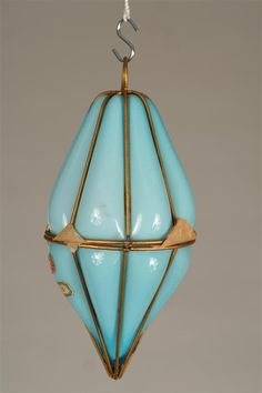 Antique murano glass and metal blown out hanging lamps