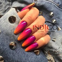 Want some ideas for wedding nail polish designs? This article is a collection of our favorite nail polish designs for your special day. Read for inspiration Orange Ombre Nails, Nails Yellow, Neon Nails, Purple Nails, Cute Nails, Pretty Nails, American Nails, Wedding Nail Polish, Indigo Nails