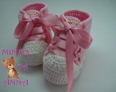 sapatinho de croche tenis baby star rosa