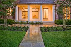 French Country Modern - Traditional - Landscape - Houston - Exterior Worlds Landscaping & Design Outdoor Landscaping, Front Yard Landscaping, Landscaping Design, Traditional Landscape, Modern Traditional, French Country, Modern Country, Country Living, Country Style