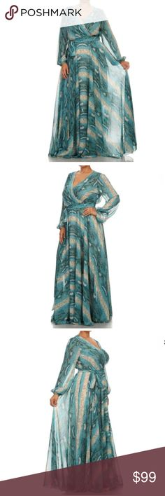 Plus Turquoise Sheer Chiffon Sweep Maxi Dress Featuring a beyond gorgeous full length maxi gown. Beautiful abstract snake looking print on a sheer chiffon material. See though long sleeves, backside and bust areas. We recommend pairing with one of our bandeaus for extra coverage. Relaxed flowly sweep fit. Wrapped bodice and tied waist. From a high end vendor.    Made of: 100% Polyester Dresses Maxi