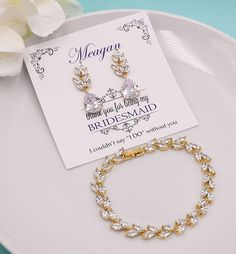 Bridesmaid Jewelry Gold, Bridesmaid Jewelry Set, Bridesmaid Gift, Bridesmaid Jewelry Gift, personalized bridesmaid jewelry set 524728907 by AllureWeddingJewelry on Etsy