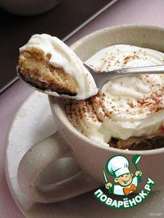 """Пирожное """"Капучино""""  Ингредиенты для """"Пирожное """"Капучино"""""""": Масло сливочное(комнатной температуры) — 185 г Сахар коричневый— 155 г Яйцо— 2 шт Мука— 300 г Разрыхлитель теста— 1/2 ч. л. Кофе натуральный(свежесваренный, охлажденный) — 185 мл Йогурт(натуральный (кефир или простокваша)) — 125 мл Творог(у меня 9%) — 250 г Сливки(33% - 35%) — 250 мл Сахар— 55 г Какао-порошок(для украшения) Соль(щепотка) Ликер кофейный(по желанию) — 2 ст. л."""