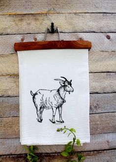 Goat Tea Towel by GreenBeeKC on Etsy