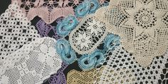 Vintage Handmade Crochet Doily Lot, Placemats, Mini Table Runners, Centerpiece, Square Doily Crochet Doilies, Crochet Lace, Lace Table, Table Toppers, White Beige, Table Runners, Pink Blue, Embellishments, Sewing Projects