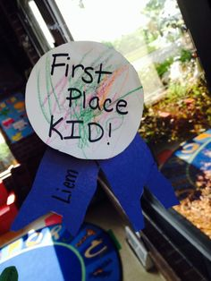 """First Place Kid, County Fair Preschool Craft. Let the kid cut out their own """"ribbon"""" to help with fine motor skills development."""