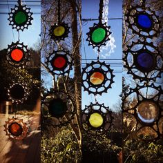UpCycled Chain Ring/Cassette Suncatchers - Handmade into Stained Glass Art. All locally purchased Stained Glass, Hand cut, ground, copper foil, solder, flux, patina & Waxed.