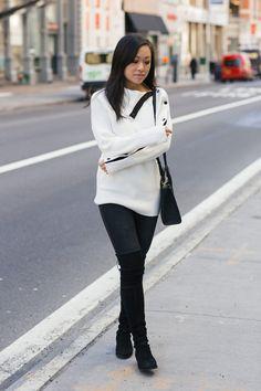 Zara sweater Stuart Weitzman Lowland boots winter outfit