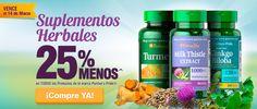 Aprovecha esta oferta hasta el 14 de marzo  Suplementos herbales con un descuento del 25% http://es.puritan.com/a-z/suplementos-herbales/?scid=29138
