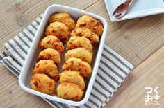 鶏つくねにはんぺんを混ぜ込むと再加熱した時にもおいしく頂けます。レンコンとはんぺんの食感がおいしいですよ。写真はオーブンで焼いたつくねです。